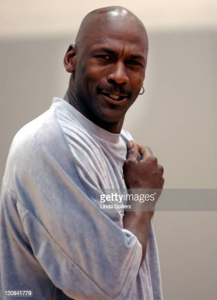 Michael Jordan reacts during a questionandanswer session April 10 2002 with the winners of the National AllStar Team for the Jordan Brand Capital...