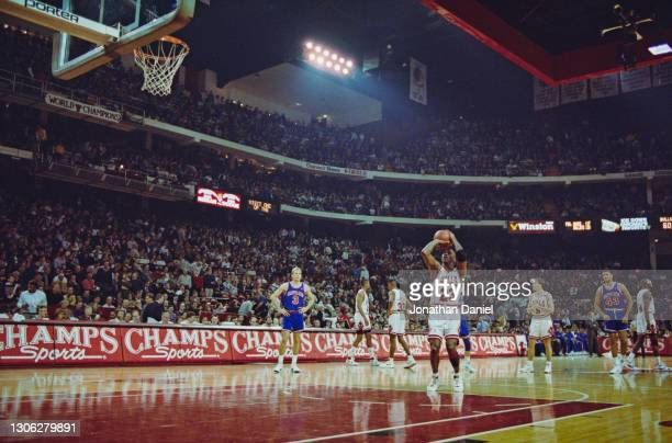 Michael Jordan, Shooting Guard and Small Forward for the Chicago Bulls prepares to make a free throw shot during the NBA Central Division basketball...