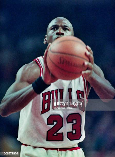 Michael Jordan, Shooting Guard for the Chicago Bulls prepares to make a free throw shot during Game 1 of the NBA Eastern Conference Semi Final...
