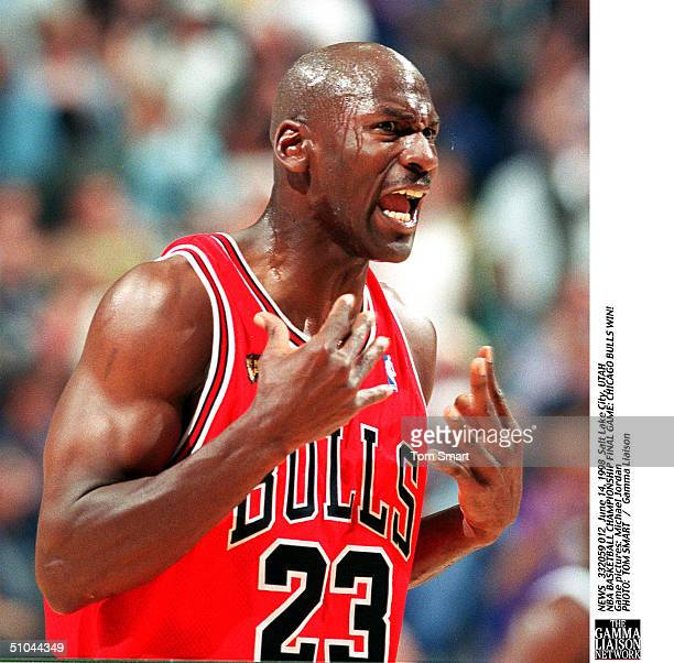 Michael Jordan Shows His Intensity During Sunday Night's Game 6 Of The Nba Finals At The Delta Center, June 14, 1998.