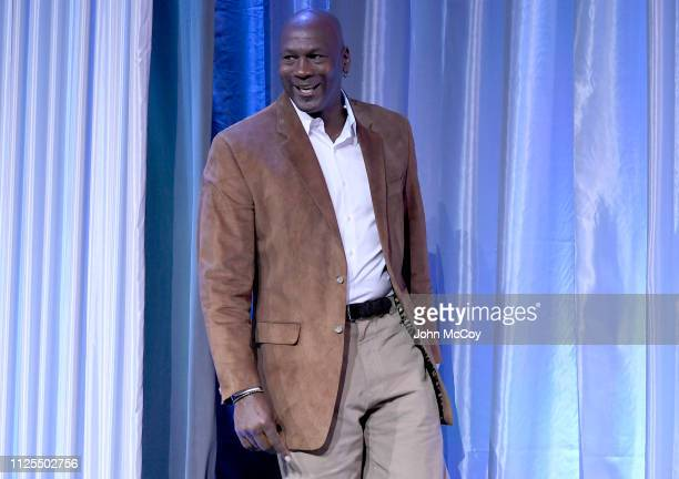 Michael Jordan speaks at the All Star Breakfast held by the National Basketball Retired Players Association at the Renaissance Charlotte Suites Hotel...