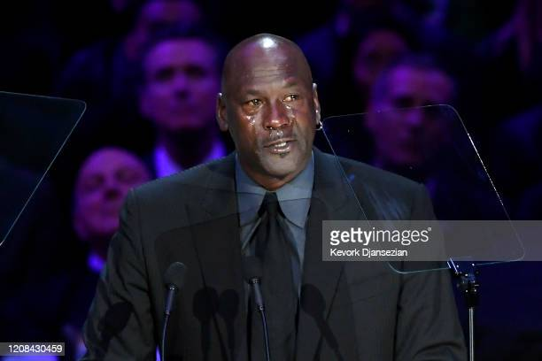 Michael Jordan speaks during The Celebration of Life for Kobe Gianna Bryant at Staples Center on February 24 2020 in Los Angeles California