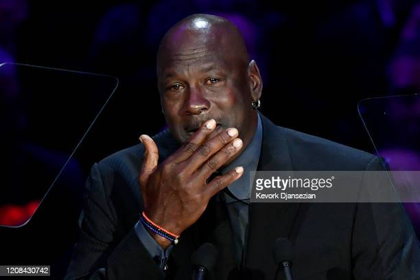 Michael Jordan speaks during The Celebration of Life for Kobe & Gianna Bryant at Staples Center on February 24, 2020 in Los Angeles, California.