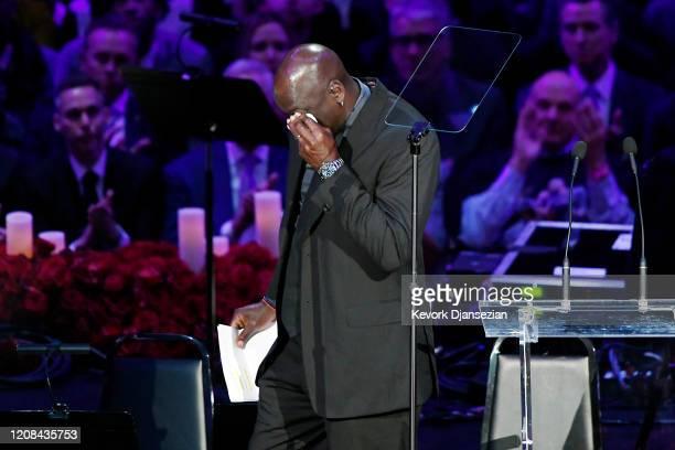 Michael Jordan speaks during The Celebration of Life for Kobe Gianna Bryant at Staples Center on February 24 2020 in Los Angeles California