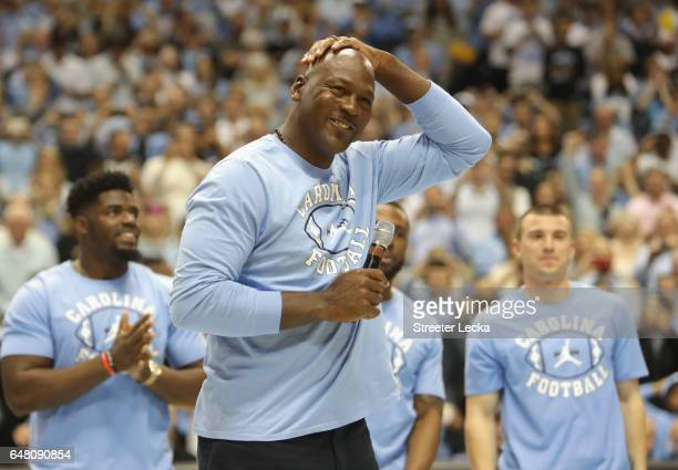 Michael Jordan speaks to the crowd at halftime during their game against the Duke Blue Devils at the Dean Smith Center on March 4, 2017 in Chapel...