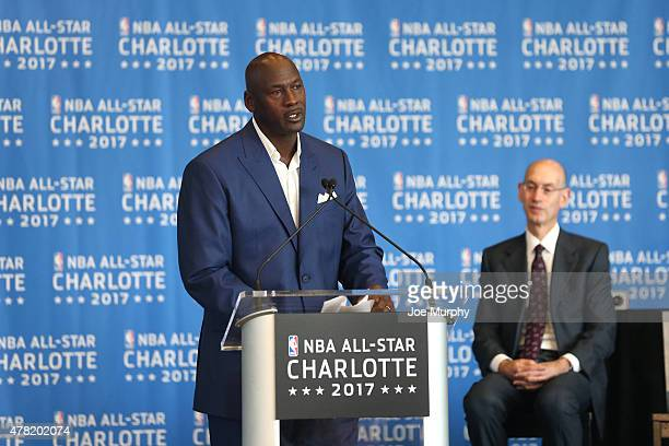 Michael Jordan speaks to the media as Charlotte Hornets announce the 2017 AllStar game at the Time Warner Cable Arena on June 23 2015 in Charlotte...