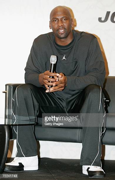 Michael Jordan talks during a presentation of his new sports wear line at on October 22, 2006 at the INEF Centre in Barcelona, Spain.