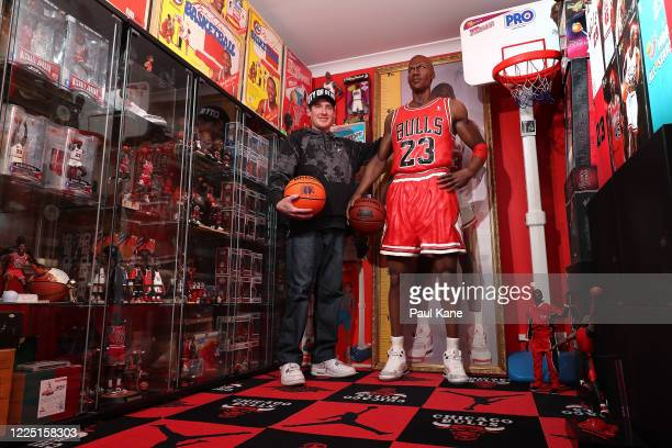 Michael Jordan toy historian Joshua De Vaney poses with his collection on May 16 2020 in Perth Australia With over 150 different and unique pieces in...