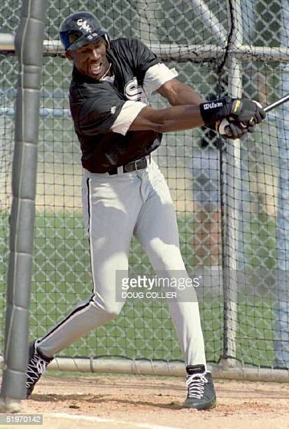 Michael Jordan works on his swing 18 February during the Chicago White Sox Spring Training camp in Sarasota Florida Jordan says he will not play as...