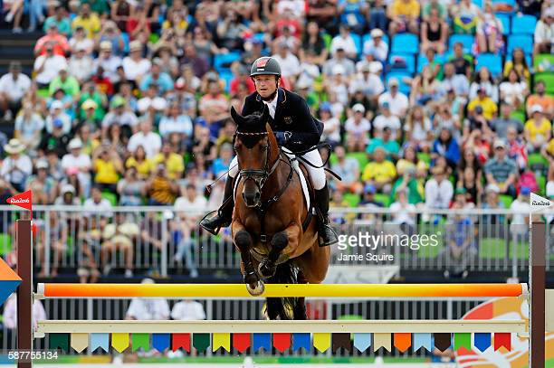 Michael Jung of Germany riding Sam Fbw during the Eventing Individual Jumping Final on Day 4 of the Rio 2016 Olympic Games at the Olympic Equestrian...