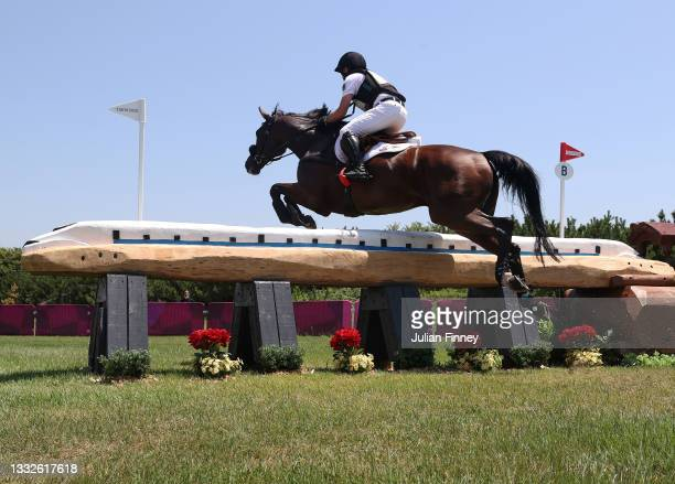 Michael Jung riding Chipmunk FRH of Team Germany jumps the bullet train on day nine of the Tokyo 2020 Olympic Games at Sea Forest Cross-Country...