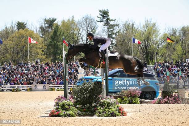 Michael Jung riding Fischerrocana FST takes second place at the first Land Rover Kentucky Three Day Event at the Kentucky Horse Park on April 29,...