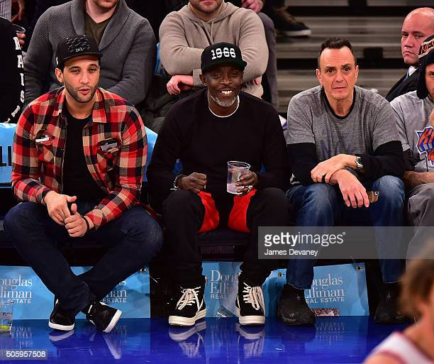 Michael K Williams and Hank Azaria attend the Utah Jazz vs New York Knicks game at Madison Square Garden on January 20 2016 in New York City