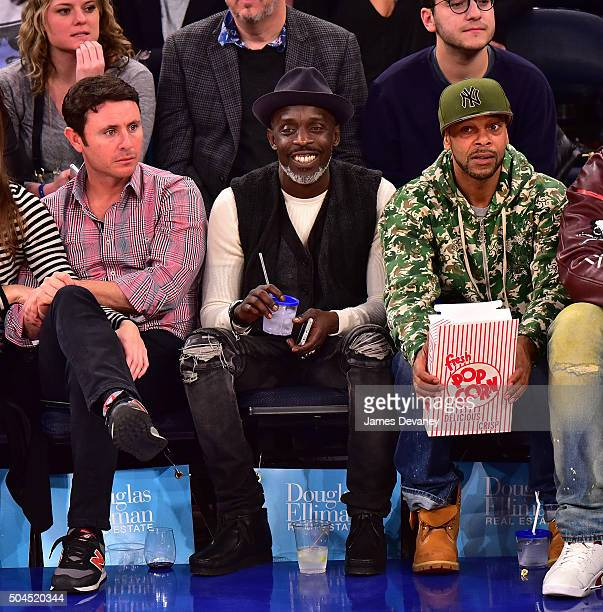 Michael K Williams attends the Milwaukee Bucks vs New York Knicks game at Madison Square Garden on January 10 2016 in New York City