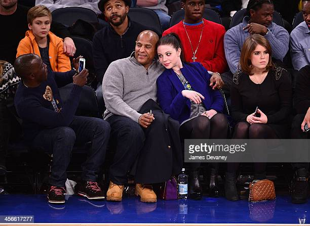 Michael K Williams guest Michelle Trachtenberg and Princess Eugenie of York attend the Atlanta Hawks vs New York Knicks game at Madison Square Garden...