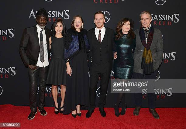 "Michael K. Williams, Marion Cotillard, Michael Fassbender, Essie Davis, and Jeremy Irons attend the ""Assassin's Creed"" New York Premiere at AMC..."