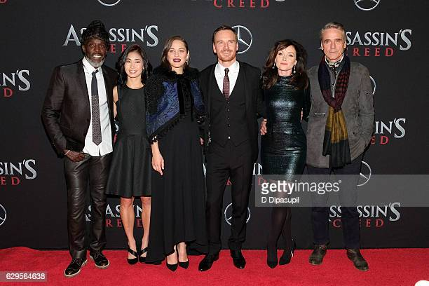 Michael K Williams Michelle Lin Marion Cotillard Michael Fassbender Essie Davis and Jeremy Irons attend the 'Assassin's Creed' New York premiere at...