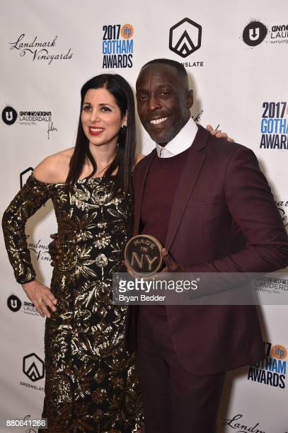 Michael K Williams poses with Gotham Appreciation Award at The 2017 IFP Gotham Independent Film Awards cosponsored by FIJI Water at Cipriani Wall...