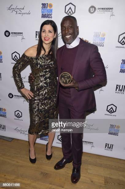 Michael K Williams poses with Gotham Appreciation Award at the GreenSlate Greenroom at The 2017 Gotham Awards at Cipriani Wall Street on November 27...