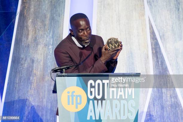 Michael K Williams speaks onstage during IFP's 27th Annual Gotham Independent Film Awards at Cipriani Wall Street on November 27 2017 in New York City