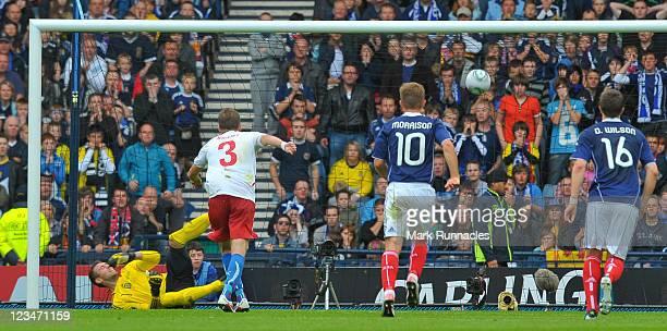 Michael Kadlec of Czech Republic scoring a penalty during the UEFA EURO 2012 Group I Qualifying match between Scotland and Czech Republic at Hampden...