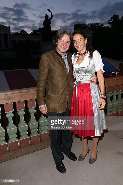 Michael Kaefer and his wife Clarissa Kaefer attend the Almauftrieb during the Oktoberfest 2015 at Kaeferschaenke beer tent on September 20 2015 in...