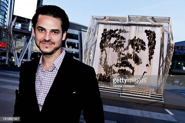Michael Kalish hosts the unveiling of his sculpture ReALIze at the Nokia Plaza LA LIVE on March 25 2011 in Los Angeles California