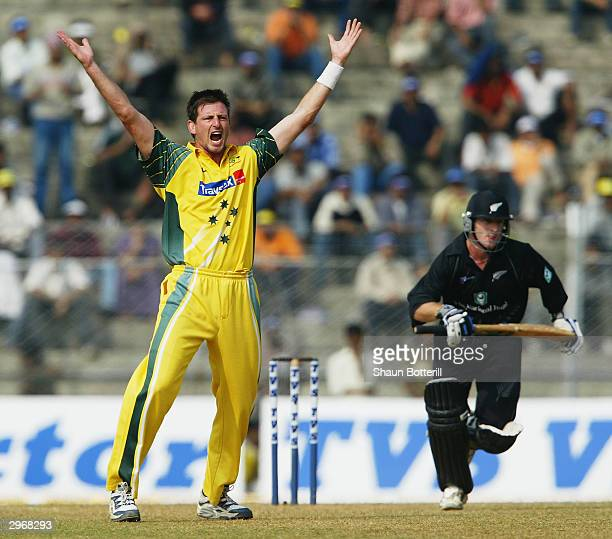 Michael Kasprowicz of Australia appeals for a wicket during the TVS Triangular One day Series match between Australia and New Zealand on November 9...