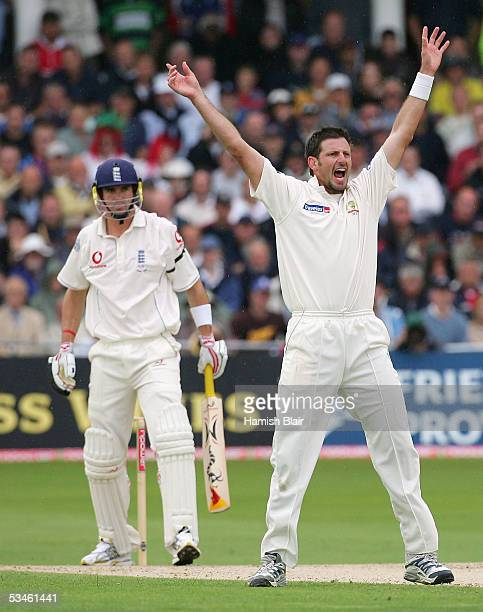 Michael Kasprowicz of Australia appeals unsuccessfully against Kevin Pietersen of England during day one of the Fourth npower Ashes Test between...