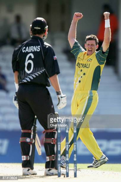 Michael Kasprowicz of Australia celebrates dismissing Chris Cairns of New Zealand during the ICC Champions Trophy match between Australia and New...