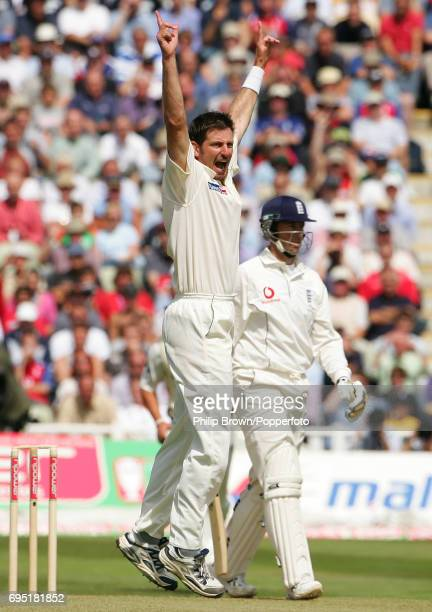 Michael Kasprowicz of Australia celebrates getting Marcus Trescothick of England caught during the 2nd Ashes Test match between England and Australia...