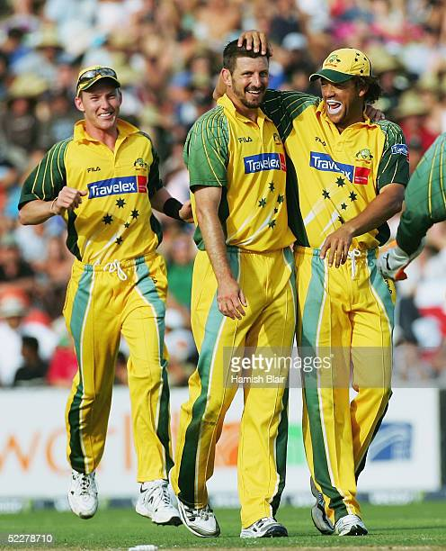 Michael Kasprowicz of Australia celebrates the wicket of Tama Canning of New Zealand during the 5th One Day International between New Zealand and...