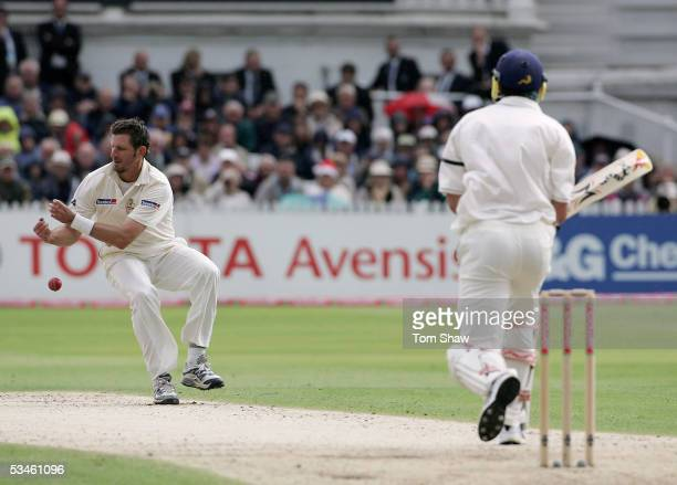 Michael Kasprowicz of Australia fails to catch Kevin Pietersen of England off his own bowling during day one of the Fourth npower Ashes Test match...