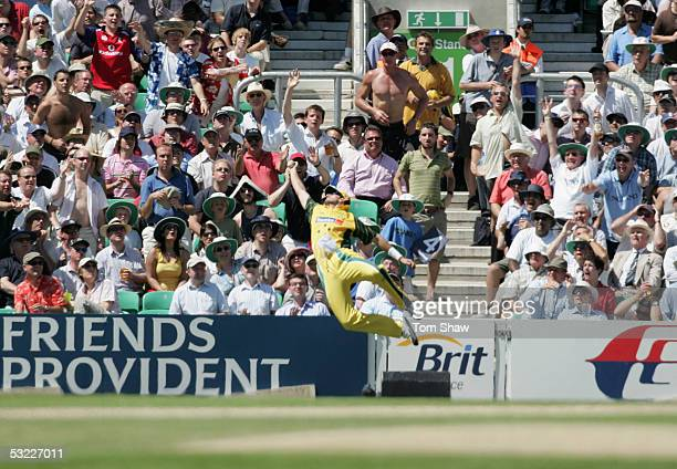 Michael Kasprowicz of Australia takes a spectacular catch of a shot by Kevin Pietersen of England but it doesn't count as he crossed the boundary...