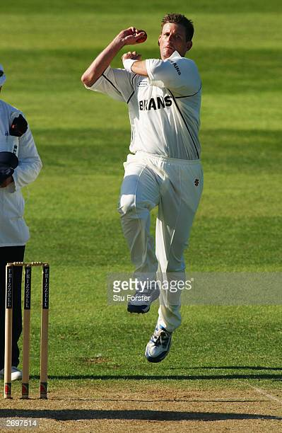 Michael Kasprowicz of Glamorgan bowls during the Frizzell County Championship Division Two match between Somerset and Glamorgan held on May 14, 2003...