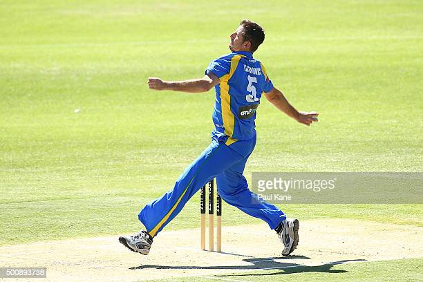 Michael Kasprowicz of the Legends bowls during the WA Festival of Cricket Legends Match between the Australian Legends XI and Perth Scorchers at...