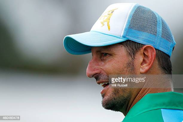 Michael Kasprowicz of the Legends XI looks on during the Twenty20 match between the Perth Scorchers and Australian Legends at Aquinas College on...