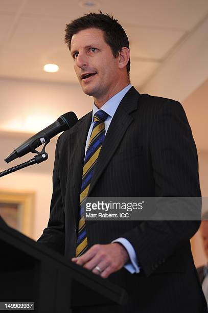 Michael Kasprowicz speaks during the ICC U19 Cricket World Cup 2012 opening function at Allan Border Field on August 6 2012 in Brisbane Australia