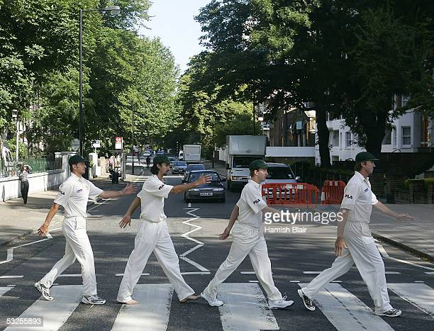 Michael Kasrpowicz Jason Gillespie Brett Lee and Glenn McGrath of Australia reenact the famous Beatles album cover at Abbey Road on July 19 2005 in...