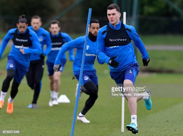 Michael Keane and Theo Walcott during the Everton FC training session at USM Finch Farm on February 21 2018 in Halewood England