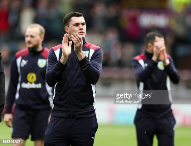 Michael Keane at the end of the Premier League match between Burnley and West Ham United at Turf Moor on May 21 2017 in Burnley England
