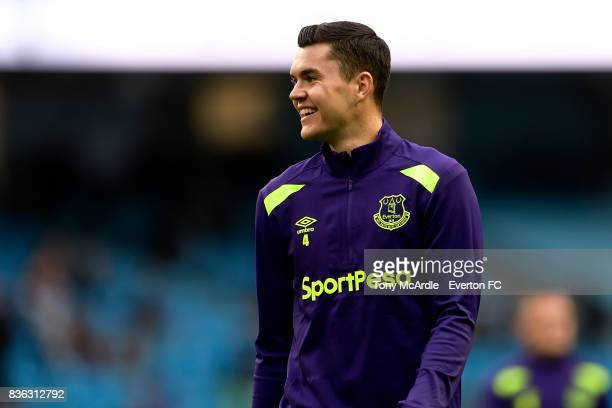 Michael Keane before the Premier League match between Manchester City and Everton at Etihad Stadium on August 21 2017 in Manchester England
