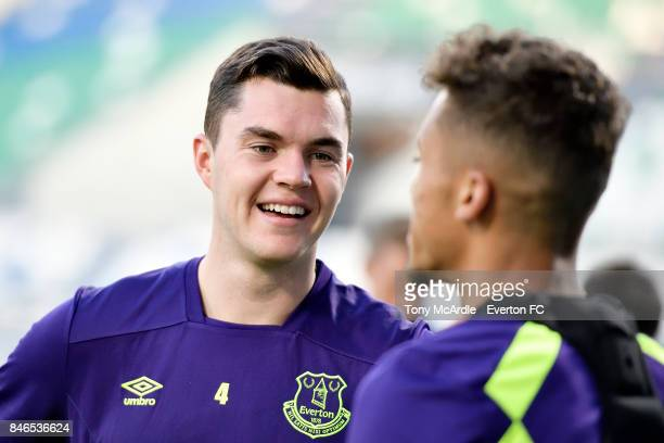 Michael Keane during an Everton training session on the eve of their UEFA Europa League group E match against Atalanta at Mapei Stadium on September...