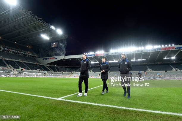 Michael Keane Jordan Pickford and Mason Holgate of Everton before the Premier League match between Newcastle United and Everton at St James Park on...
