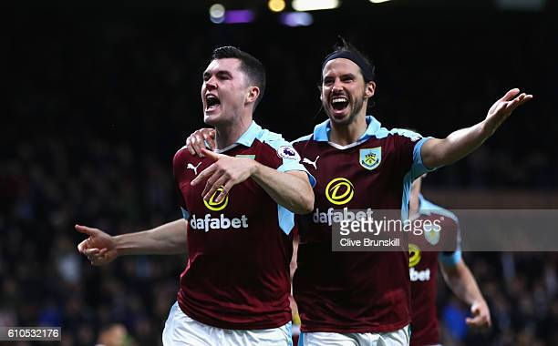 Michael Keane of Burnley celebrates scoring his sides second goal with team George Boyd of Burnley during the Premier League match between Burnley...
