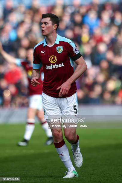 Michael Keane of Burnley during the Premier League match between Burnley and Tottenham Hotspur at Turf Moor on April 1 2017 in Burnley England