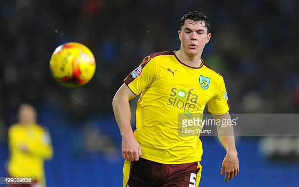 Michael Keane of Burnley during the Sky Bet Championship match between Cardiff City and Burnley at the Cardiff City Stadium on November 28 2015 in...
