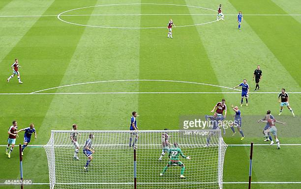 Michael Keane of Burnley scores the opening goal during the Sky Bet Championship match between Burnley and Brentford at Turf Moor on August 22 2015...