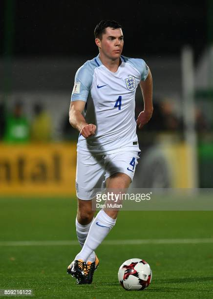 Michael Keane of England controls the ball during the FIFA 2018 World Cup Group F Qualifier between Lithuania and England at LFF Stadium on October 8...
