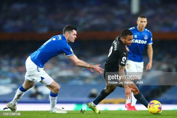 Michael Keane of Everton and Gabriel Jesus of Manchester City during the Premier League match between Everton and Manchester City at Goodison Park on...